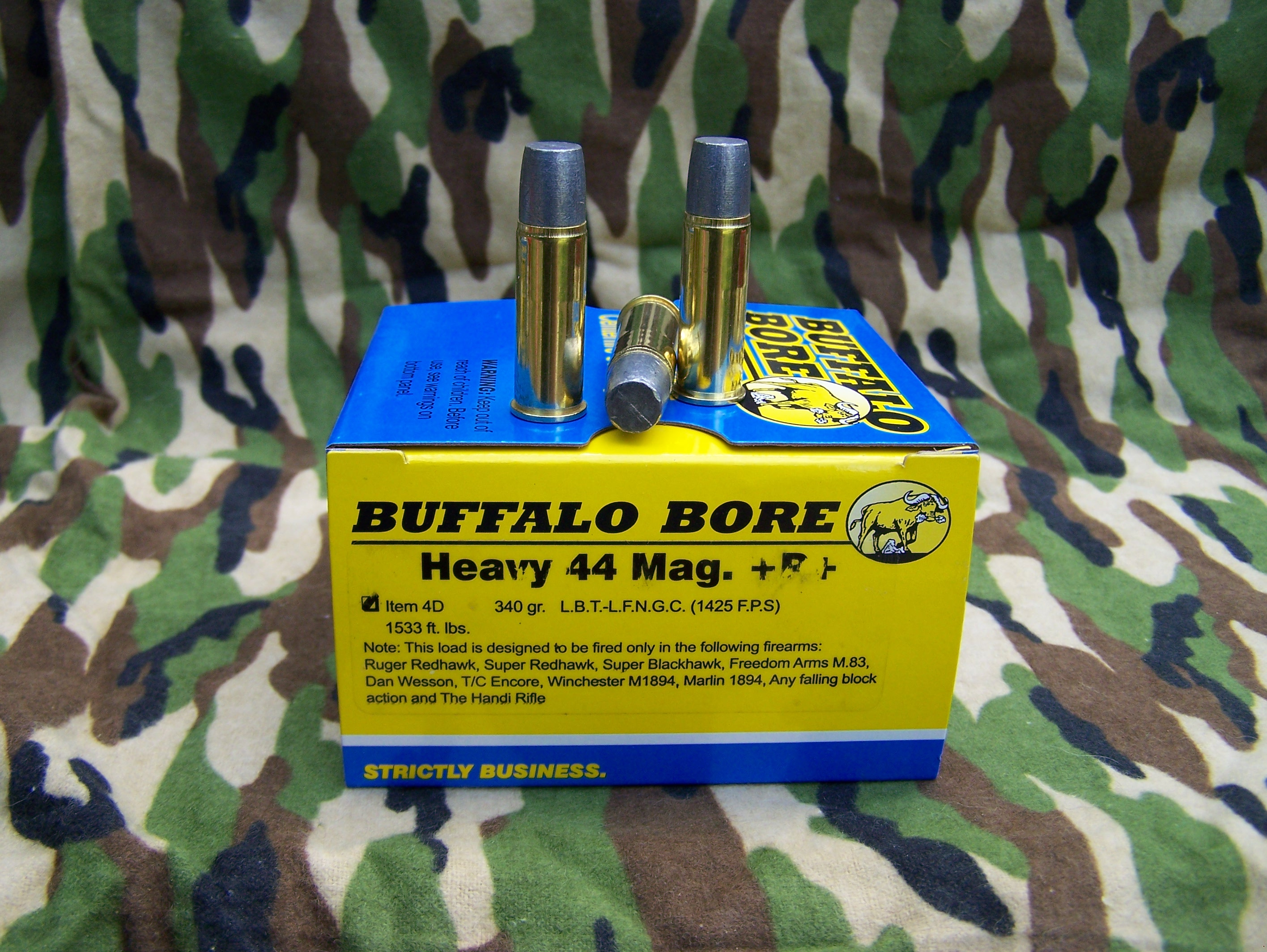 For super-deep penetration with the .44 Mag you want the Buffalo Bore 340-gr LBT LFN Gas Check round, it will punch right through the big brown bears or just about anything else you can hunt in the USA.
