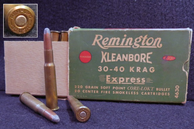 "The 30-40 Krag has been around for a long time. Older Krag ammo was stamped ""30 USA,"" as seen here. This is some ancient factory ammo with 220-grain bullets.  Photo © Russ Chastain"