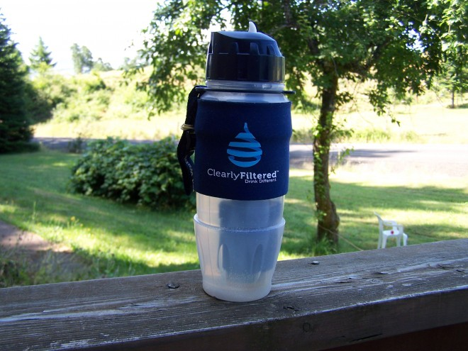 This is the Athlete bottle, and it's great for when you're out playing sports, running, biking, hiking or hunting. It can filter up to 100-gallons of water.