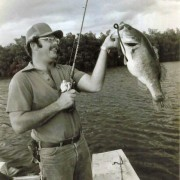 Young Bob McNally in this vintage black & white photo holds his best Redondo bass during his Cuban trip – a stout 10-pounder.