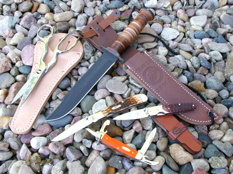Four from WR Case: Scout, TrapperLock, SlimLock, and USMC Bowie