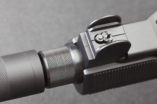 Front sight is adjustable for elevation with AR15 sight tool.