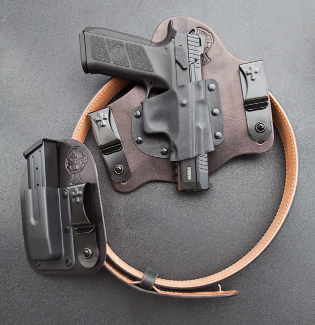 Tuckable hybrid holster makes covert carry of this fairly large pistol eminently practical.