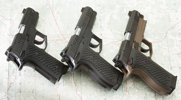 Three LH9 pistol variants, three sighting options: gold bead, fiber optic, tritium.