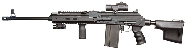 Vepr .308 with hydraulic recoil dampener. Felt recoil is similar to 5.45mm AK74.