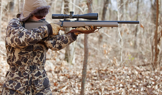 Off-hand shooting from a recoil-taming stance. While the Varmint Trainer has no perceptible recoil, it should still be handled as if it does.