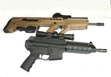 This is how short the Tavor is. Compared to the shorted AR pistol by Extar.