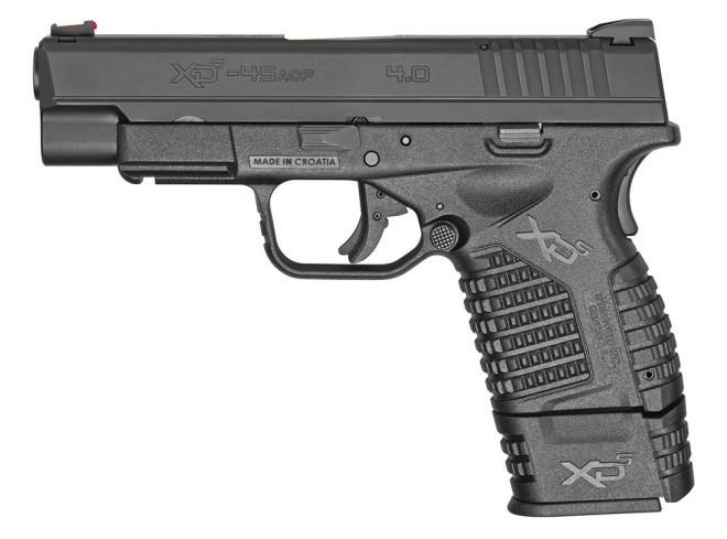"""Springfield Armory XD-S 4.0"""" Single Stack 45 ACP, Black finish with extended mag."""
