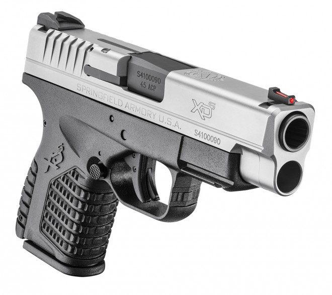 """Springfield Armory XD-S 4.0"""" Single Stack 45 ACP, Bi-Tone finish, front view."""