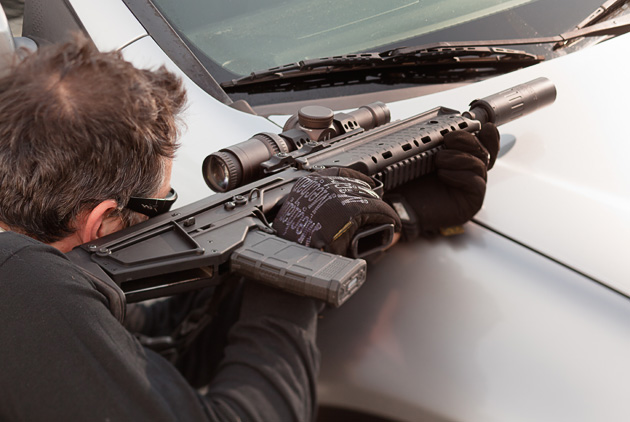 RDB may be safely fired sideways when a low profile is necessary, such as when shooting under a vehicle or a fence.