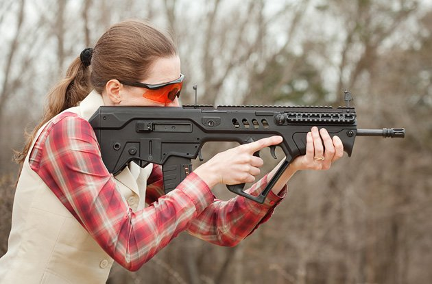 Built-in Tavor backup sights seem flimsy but work well.