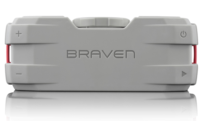 Top of Braven BRV-X Speaker. Soft touch control buttons on each corner.