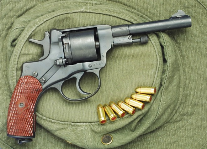 Nagant revolver with 32ACP conversion cylinder.