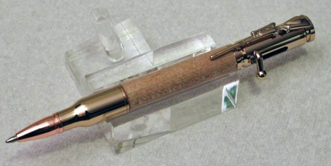 Gold and Maple Bolt Action pen with bolt action rifle clip.
