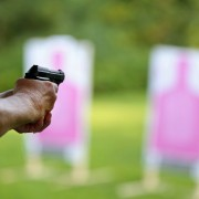 A Woman Takes Aim During Women Armed and Ready Range Session