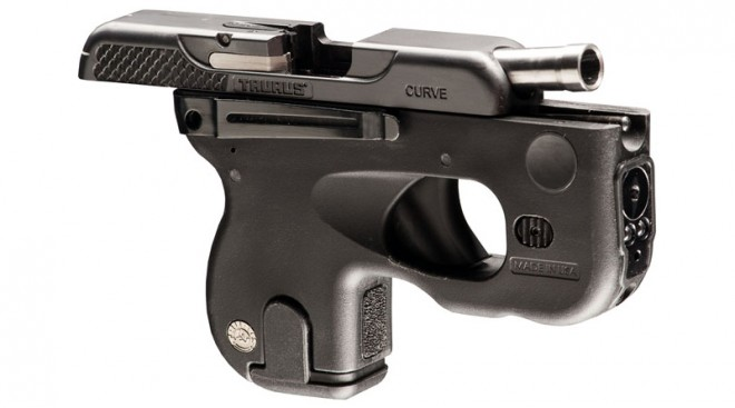 Taurus Curve pistol with the slide open.