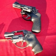 The Ruger LCRx (top) and LCR 9mm (bottom).