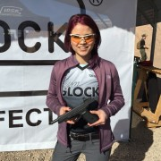 Team Glock's Tori Nonaka shows off the new Glock 40