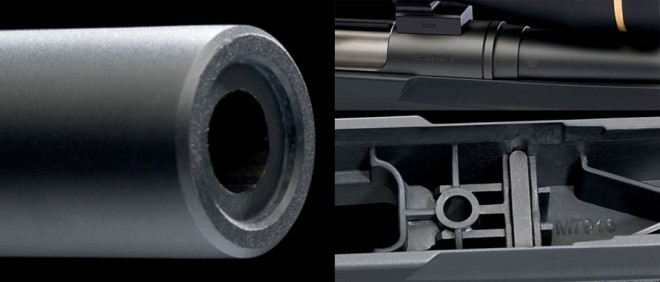 Recessed crown (L), Barrel locknut (TR), Action profile interface pads (BR)