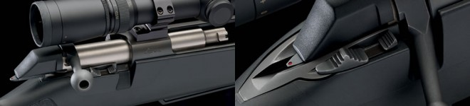 Plenty of scope clearance when the bolt is open (L); safety, bolt release, and cocking indicator (R)