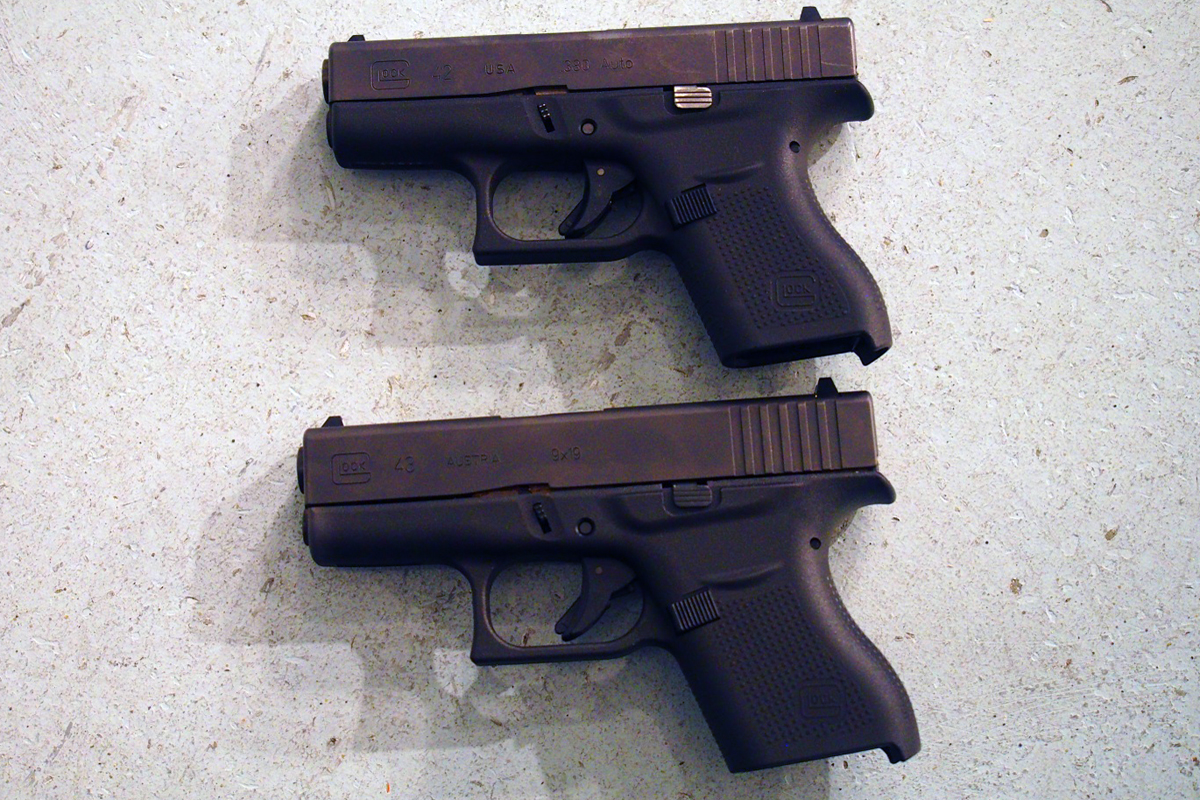 Glock 42 380 ACP (top) and 43 9mm (bottom).