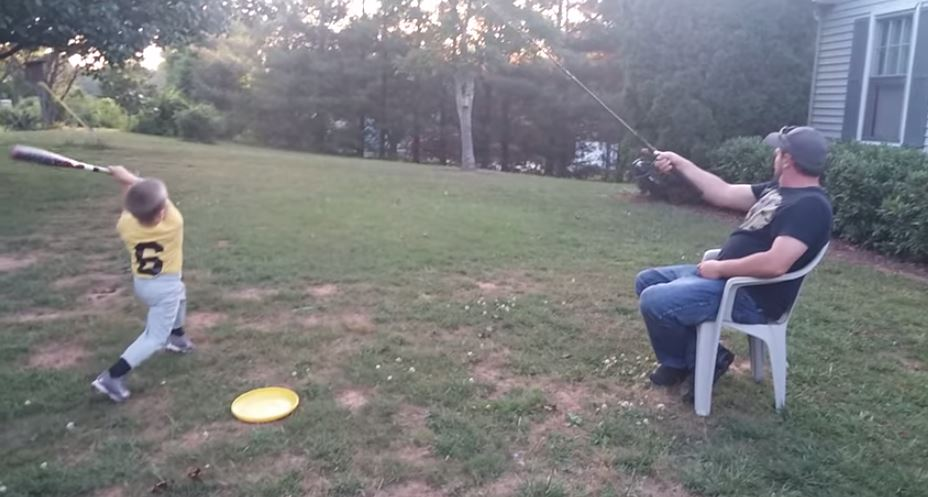 Redneck Resourcefulness: Father and Son Fishing Baseball