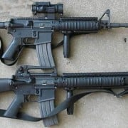 M4 carbine (top) and M16A4 rifle.