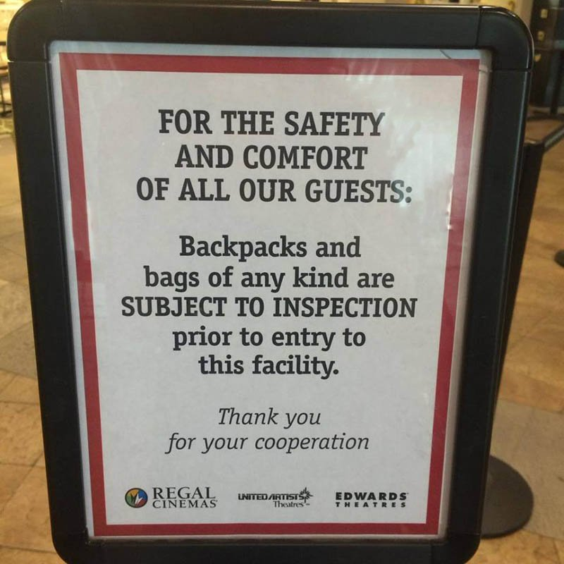 Regal Cinemas Wants to Search Your Purse or Backpack