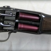 This Lefaucheux over/under shotgun loads from the side.