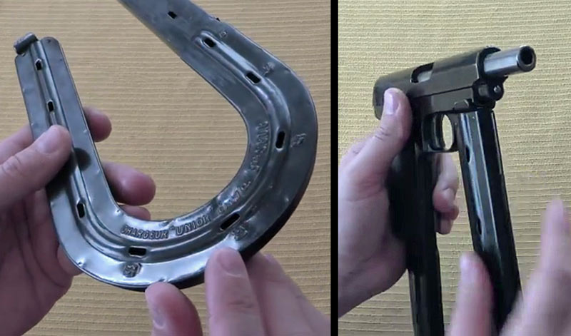 Magazine markings and round-count windows (left) and fit of magazine to pistol frame (right).