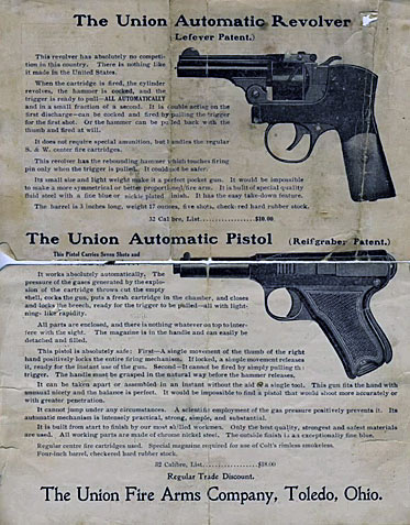 Reifgraber Union Automatic Pistol for 32 S&W Rimmed Revolver Ammo