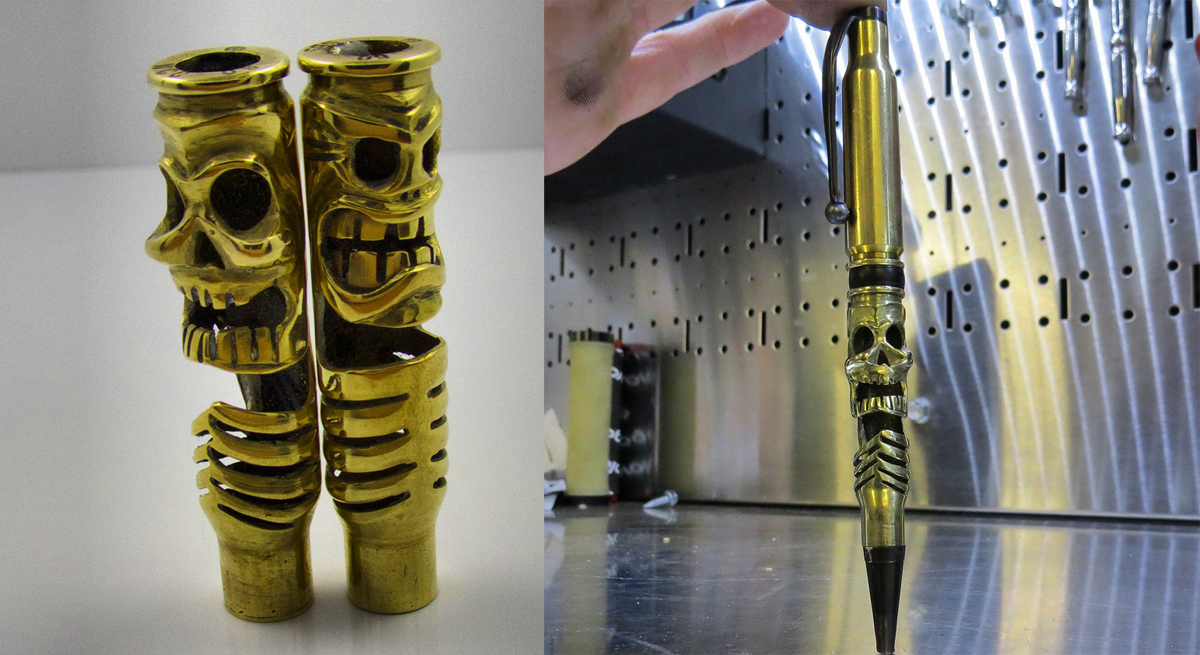 Some pen bodies made of 308 brass, and a mockup of a 308 pen.