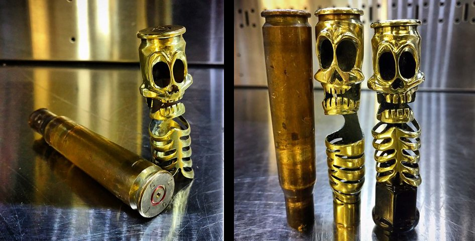 50 BMG art. He adds brass with a tig welder, some pieces take 2 weeks to make.