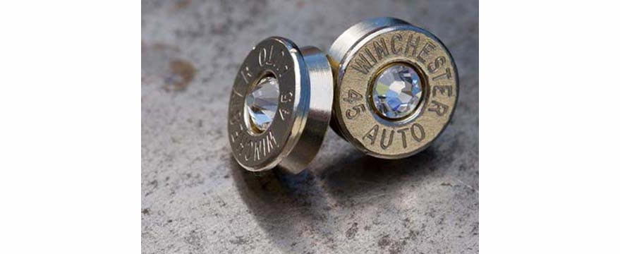 Case head stud earrings, available in different cartridges with your birthstone. (Photo: Ammo Wear)