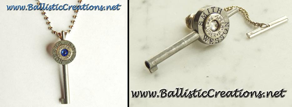 Handcuff key necklace and tie tack. (Photo: Ballistic Creations)