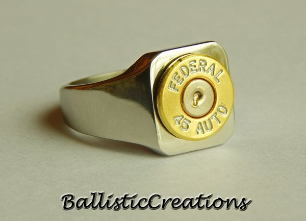 Men's stainless steel ring with case head. (Photo: Ballistic Creations)