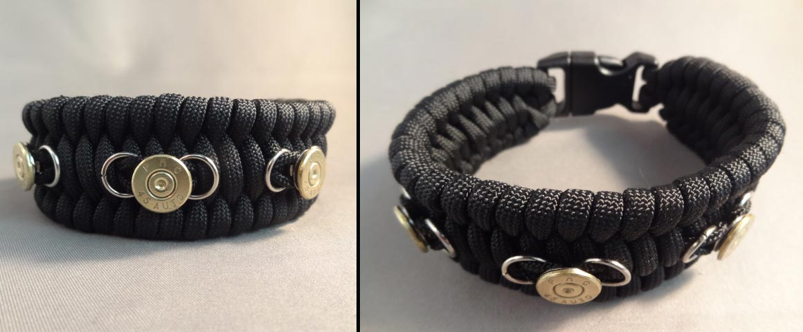 Paracord bracelet with three case heads (9mm, 40 S&W, or 45 ACP) available in various colors. (Photo: High Caliber Creations)