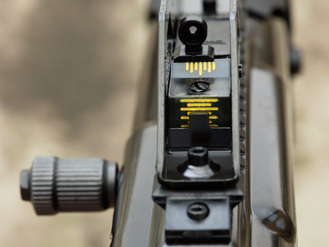 The rear sight is adjustable and even has a scale to make adjustments repeatable.
