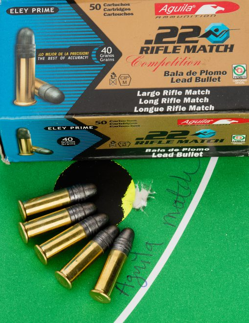 Five shots at 26 yards, with all bullets impacting pretty much on top of each other. That's how this rifle shoots consistently with Aguila, Eley and CCI match ammunition.