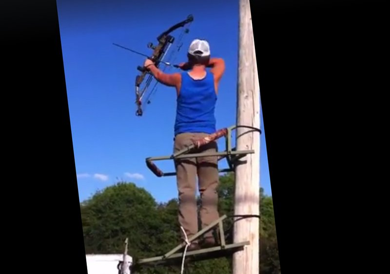 """Video: Tree Stand Slips as """"Hunter"""" Draws His Bow"""