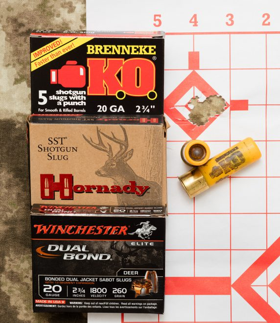 3-shot 0.5-inch group fired from 25 yards with Brenneke K.O.