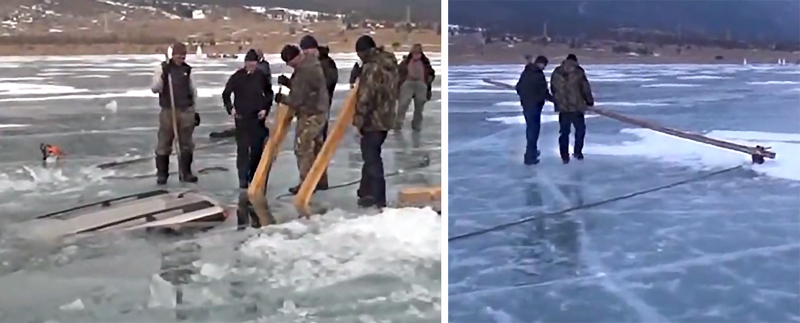 Watch These Russians Pull a Sunken Vehicle From a Frozen Lake — By Hand!