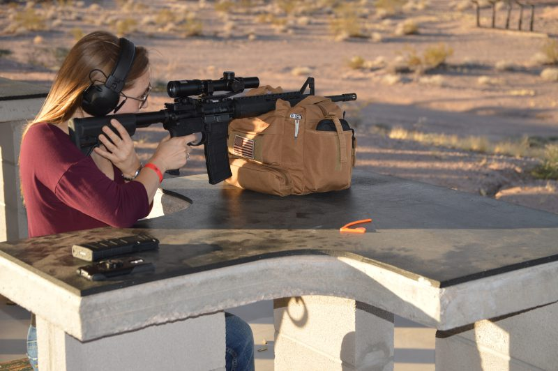 A shooter tries out the SAINT at the recent Springfield Armory media event in Las Vegas