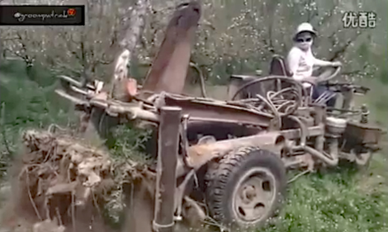 Watch: Awesome Homemade Machine Pulling Up Dead Trees