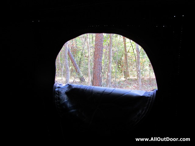 Looking through the small window of a ground blind