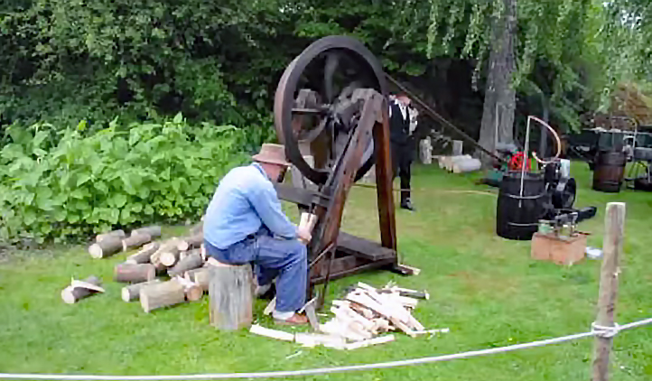 Watch: Old School & Dangerous Wood Splitting Machines