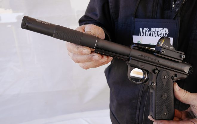 Inland Mfg. has a series of new sound suppressors, very quiet, very light at around 3oz and inexpensive at around $150.