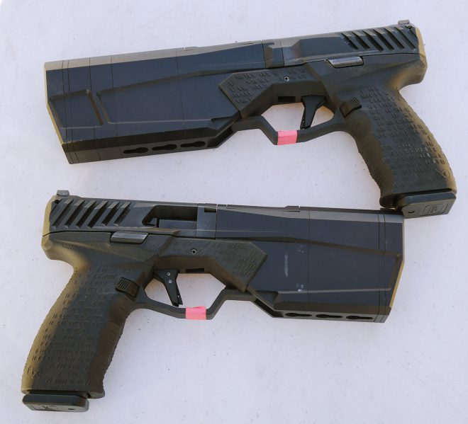 Integrally suppressed SilencerCo Maxim 9mm pistol uses delayed blowback with fixed barrel. Light, accurate, with low recoil, Maxim uses Glock magazines.