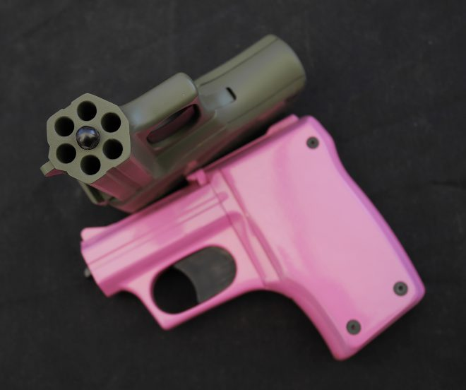 Available in various colors, these heavy but simple and streamlined pistols fire two barrels with each trigger pull. At $214 list, they are affordable and may be fired from a pocket without any external moving parts getting caught.