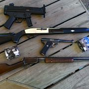 An array of 22 rimfire pistols and rifles. (Photo © Russ Chastain)